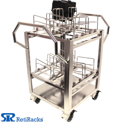 RetiRacks Electropolished Stainless Steel Anti-Vibration Wafer Transport Cart showing a wafer cassette loaded on top rack