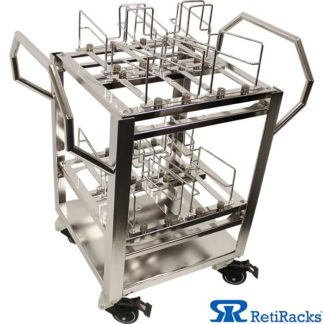 RetiRacks Electropolished Stainless Steel Anti-Vibration Wafer Transport Cart shown with RetiRacks logo