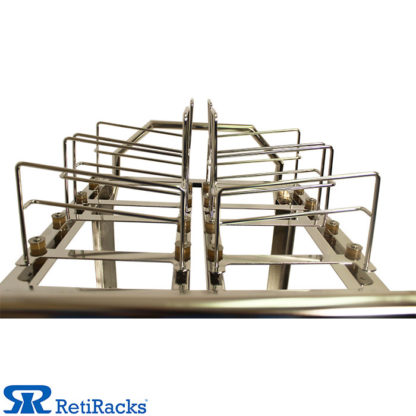 RetiRacks Electropolished Stainless Steel Anti-Vibration Wafer Transport Cart showing top wafer boat rack detail
