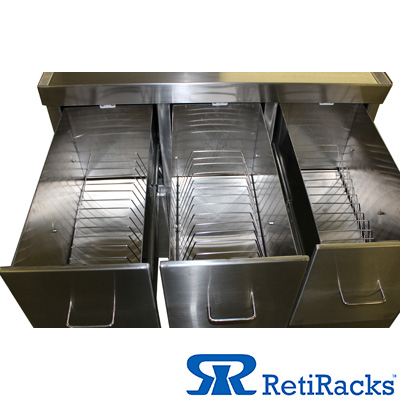 RetiRacks™ stainless steel mobile reticle storage system with drawers showing reticle racks inside drawers